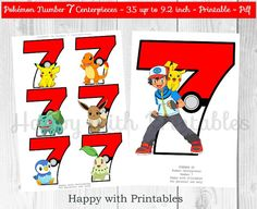 ^-^ INSTANT DOWNLOAD ^-^ Pokémon GO Number 7 Centerpieces. Great for Pokémon Party, Pokemon sweet table or Pokemon decoration. You get: Pokemon Go Number 7 images: 6 designs 3.5 inch and 1 design 9.2 inch on 1 pdf printable (A4), 2 sheets. SIZE CENTERPIECES: 3.5 inch up to 9.2 inch. Great for a Pokémon party! Print as many as you like! You will receive 1 printable digital file (pdf), 2 sheets. After purchase Etsy will send you an email with a link to your printable. NON EDITABLE File i...