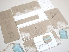 SALE  Wedding Invitation  Rustic White trees on by anistadesigns, $11.50