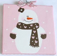 Valentine Snowman Canvas Sign by bristlesprout on Etsy