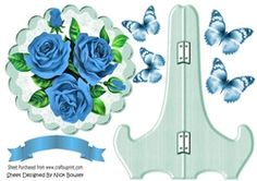 Pretty blue  roses with butterflies on lace plate   stand on Craftsuprint - View Now!
