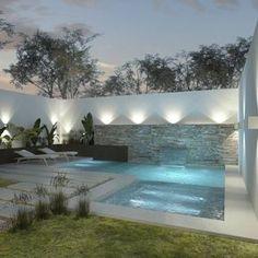 Diseño de patios pequeños con pileta. Encontrá ideas e inspiración en homify Argentina. #piletasmodernos