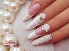 @bedo.babett szépséges alkotása  #brillbird #brillbirdhungary #nails #mukorom #nailstagram #nailitdaily #naildesigns Nail Tip Designs, Winter Nail Designs, Art Designs, Wedding Nails For Bride, Bride Nails, French Manicure Nails, French Tip Nails, Romantic Nails, Crazy Nails