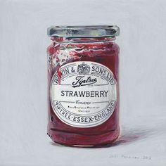 Strawberry Jam - Egg Tempera by Joel Penkman Joel Penkman, Pinterest Instagram, Food Artists, Food Painting, Jam Jar, Food Drawing, Good Enough To Eat, Food Illustrations, Illustration Art