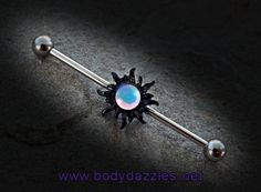 Black Tribal Sun Industrial Barbell Surgical Stainless Steel Body Jewelry S Industrial Earrings, Industrial Piercing Jewelry, Industrial Barbell, Cute Ear Piercings, Body Piercings, Piercing Tattoo, Barbell Piercing, Tribal Sun, Jewelry Center