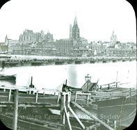 Ferry, bridge of boats, city of Cologne  Germany ca 1900. Saratoga County Historical Society.