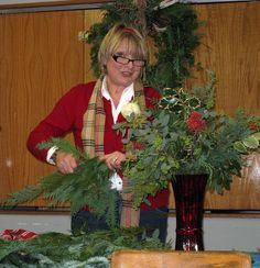 Holiday Greens making with Jacques Flower Shop's very own Nancy! by Manchester Library, via Flickr