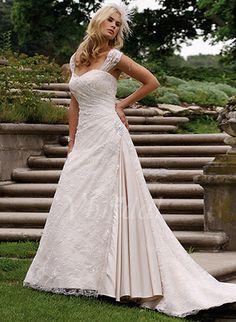 Wedding Dresses - $202.09 - A-Line/Princess Sweetheart Chapel Train Satin Lace Wedding Dress With Ruffle Lace Beading (00205001447)
