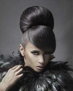 bun hairstyles with a bang for black women | ... Junior Green – long black straight hair styles – 419489 Hair cuts