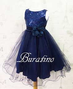 Flower Girl Dress Navy Sequin Double Mesh by BURATINOBOUTIQUE
