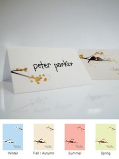 Love Birds Tented Place Cards (Set of 6 - 4 Colors) from Wedding Favors Unlimited