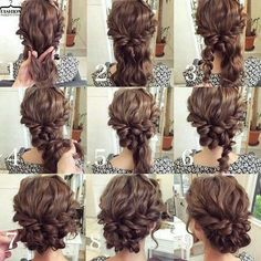 Easy updo for curly hair. Wedding hair. Prom hair....