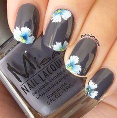 gray nails with flowers #spring #nails #beautyinthebag #nailart