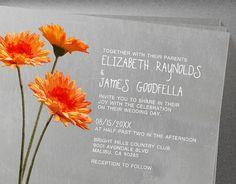 Gerbera Daisy Wedding Invitations Invites by InvitationSnob