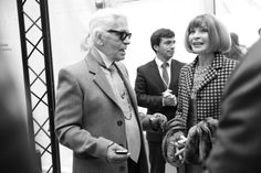 Karl Lagerfeld and Anna Wintour backstage at Chanel Couture Spring / Summer 2014 - Day 2