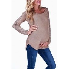 Mocha Crochet Sleeve Sweater $52  Cutest maternity tops at BBC Boutique