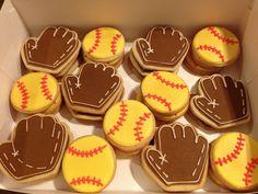 Softball Cookies Baked By Britt. Softball Cookies, Softball Treats, Softball Party, Softball Gifts, Girls Softball, Softball Things, Softball Stuff, Royal Icing Cookies, Sugar Cookies