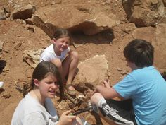Kids digging for crystals
