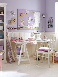 New Sewing Room Interior Design Ideas Sewing Spaces, Sewing Rooms, Craft Room Storage, Room Organization, Space Crafts, Home Crafts, Small Craft Rooms, Coin Couture, Purple Rooms