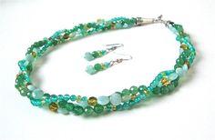 Triple strand green stone necklace set  by sparklecityjewelry