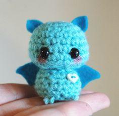 Mini Amigurumi Blue Bat  Kawaii Halloween by twistyfishies on Etsy