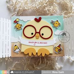Favor Bag Accessory - Chickie - Creative Cuts is a Stand Alone Die. Approximate Measurements: Chickie Head x Glasses x Project Credit: Rina Galit Mama Elephant Stamps, Elephant Design, Animal Cards, Scrapbook Cards, Scrapbooking, Kids Cards, Fun Projects, I Card, Cardmaking