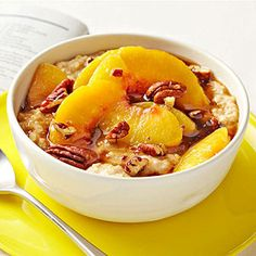 Chai Oatmeal: Steep 1 chai tea bag in 1/2 cup boiling water 3 minutes. Combine tea with 1/2 cup low-fat milk and 1/2 cup quick-cooking oats. Microwave and top with 1/2 cup thawed frozen sliced peaches, 1 tablespoon chopped pecans, and 2 teaspoons maple syrup.