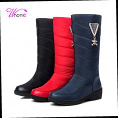 51.70$  Buy now - http://alitek.worldwells.pw/go.php?t=32767077626 - 2017 Fashion Woman Snow Boots Mid-calf Wedge Heel PU Down Rhinestone Warm Plush Casual Party Winter Boots Sexy Red Ladies Shoes 51.70$