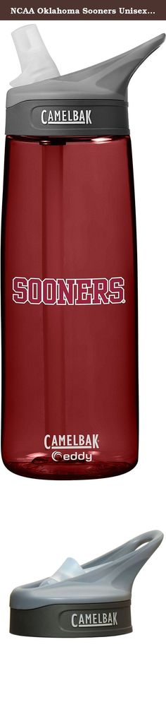 NCAA Oklahoma Sooners Unisex CamelBak Eddy 75L Collegiate Water Bottle, Cardinal, 75 Liter. The Eddy bottle makes portable hydration simple-just flip, Bite and sip. The 75L size fits easily in the hand and is compatible with most cup holders. The loop handle makes it easy to clip to a pack or comfortably carry in the crook of your finger. The spill-proof design, durable construction and BPA-free materials make it an ideal bottle for work or play.