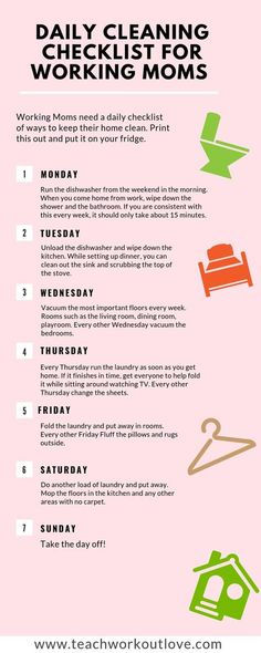 Creating a daily cleaning checklist can help working moms make it manageable. Here is your new schedule and some great products to go with it Checklist Daily Cleaning Checklist For Working Moms - TWL Working Moms tips hacks Daily Cleaning Checklist, Deep Cleaning Tips, House Cleaning Tips, Spring Cleaning, Cleaning Hacks, Cleaning Routines, Weekly Cleaning, Babies R Us, To Go