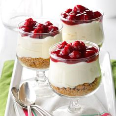 Cherry Cream Cheese Dessert Recipe -Pretty layers of graham cracker crumbs, creamy filling and fruit topping make this dessert a standout! For a nice change, you can substitute blueberry pie filling or another fruit flavor for the cherry filling called for in the recipe. —Melody Mellinger, Myerstown, Pennsylvania