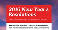 Growth Mindset Mini-Project: 2016 New Year's Resolutions Write an essay, create a google slides presentation, make a poster or a video...