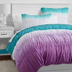 Surf Dip Dye Ruched Duvet Cover + Sham, Pool/ Purple #pbteen