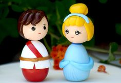 Wedding cake topper princess and prince by Chikipita on Etsy