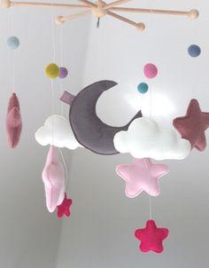 Mobile ★ Sternenhimmel ★ grau/rosa ★ von    elseMIR*    auf DaWanda.com