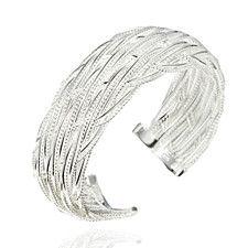 925 Sterling Silver Lace Weave Bangle Bracelet