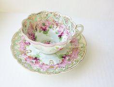 Scallop Edge Vintage Teacup Decorative Hand Painted by jarmfarm