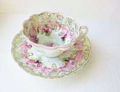 Scallop Edge Vintage Teacup Decorative Hand Painted by jarmfarm