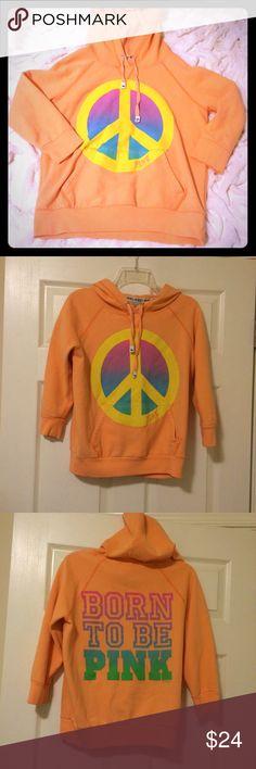 "Victoria's Secret PINK hoodie Peach Victoria's Secret hoodie. Front- peace sign, back - ""born to be pink"". 60% cotton, 40% polyester. PINK Victoria's Secret Tops Sweatshirts & Hoodies"