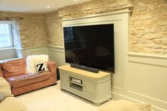 Here are my Top Tips for incorporating a large television in a period house. We live in a Georgian home and have just converted the basemen. Television Cabinet, New Cinema, Modern Country Style, Chimney Breast, Georgian Homes, Cinema Room, Architectural Features, Perfect Place, Interior Inspiration