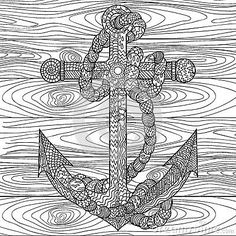 anchor and rope in the zentangle style