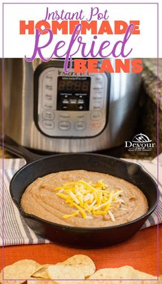 Making Homemade Refried Beans just got easier with this super simple Instant Pot Recipe. I was skeptical, but let me tell you that eating Homemade Refried Beans is sooo good! Honestly, why buy canned when you can make refried beans this quick. Pressure Cooker Refried Beans, Homemade Refried Beans, Pressure Cooker Recipes, Pressure Cooking, Best Instant Pot Recipe, Instant Pot Dinner Recipes, Side Dish Recipes, Recipes Dinner, Queso Blanco