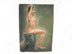 French vintage Nude portrait Woman Portrait Painting/Art on paper/Folk Art/Primitive/Home Decor
