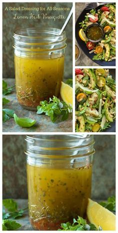This Lemon Herb Vinaigrette is my go-to salad dressing. You will always find a jar in my refridg, as it goes with a zillion different salads. Omit canola oil and add ACV Vinaigrette Dressing, Salad Dressing Recipes, Lemon Vinaigrette, Herb Dressing Recipe, Vinaigrette Recipe, Ranch Dressing, Chutneys, Sauce Recipes, Cooking Recipes