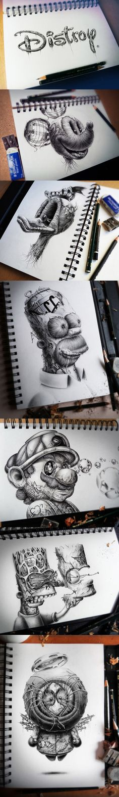 Distroy by PEZ // funny pictures - funny photos - funny images - funny pics - funny quotes - (Cool Art Drawings) Amazing Drawings, Cool Drawings, Amazing Art, Creepy Drawings, Awesome, Digital Art Illustration, Graphisches Design, Pencil Art, Pencil Shading