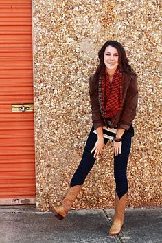 loving the mix of patterns/styles here: darn denim w/cowboy boots, stripes, leather, & then a baggy infinity scarf>>fall colors!