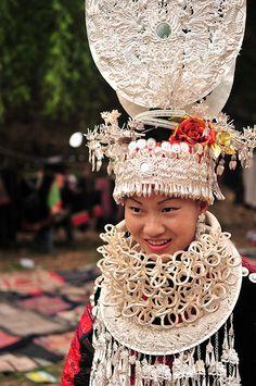 Miao Girl with silver headdress