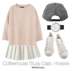 """""""Coffeehouse Study Date: Hoseok"""" by btsoutfits ❤ liked on Polyvore featuring adidas, Sofie D'hoore and Elwood"""