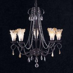Framburg 9725 MB 5 Light Rhapsody Chandelier, Mahogany Bronze at ATG Stores