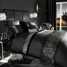 Loving this bedding! Designer Kylie Minogue Velvetina Black Bed Linen Bedding Duvet Cover New Glam Bedroom, Bedroom Sets, Home Bedroom, Bedroom Furniture, Sparkly Bedroom, Silver Bedroom Decor, Furniture Makeover, Girls Bedroom, Master Bedroom