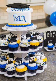 Can't decide between making a graduation cake or cupcakes? Use a cupcake stand and do both!